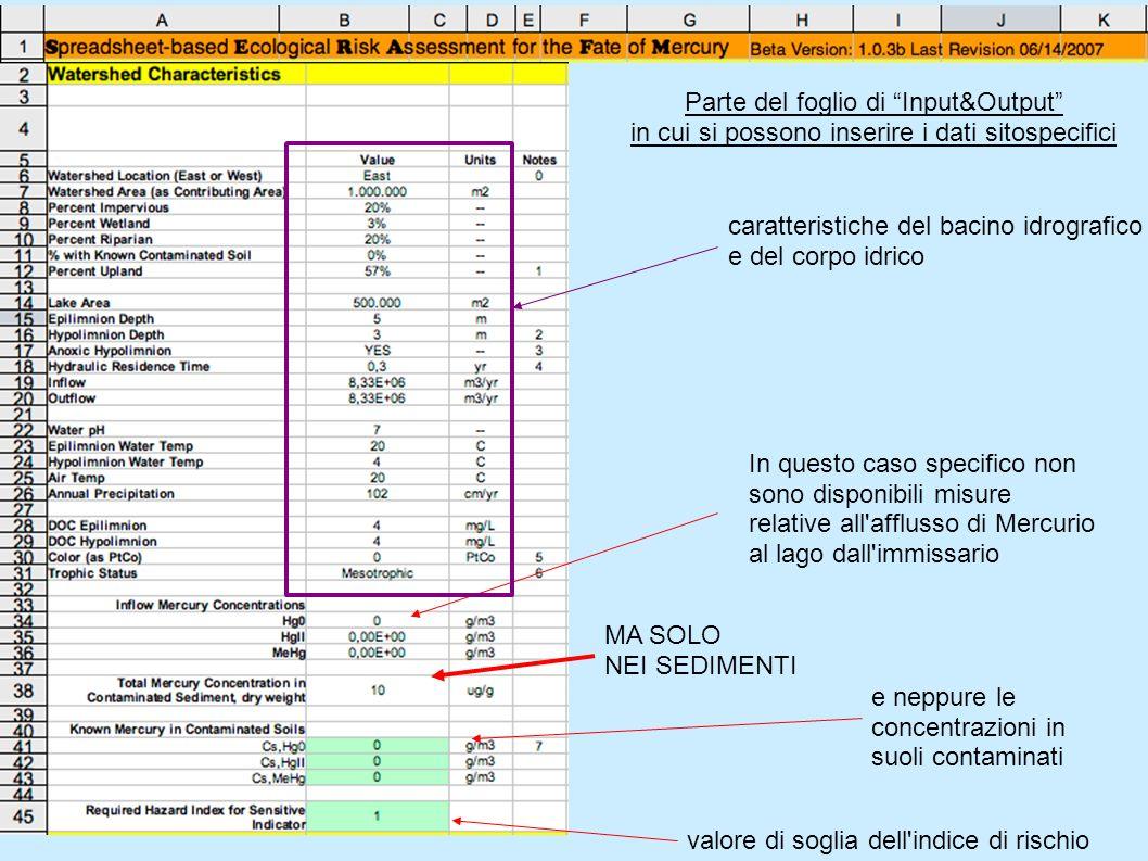Parte del foglio di Input&Output in cui si possono inserire i dati sitospecifici In questo caso specifico non sono disponibili misure relative all'aff