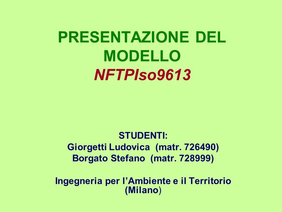 PRESENTAZIONE DEL MODELLO NFTPIso9613 STUDENTI: Giorgetti Ludovica (matr. 726490) Borgato Stefano (matr. 728999) Ingegneria per lAmbiente e il Territo