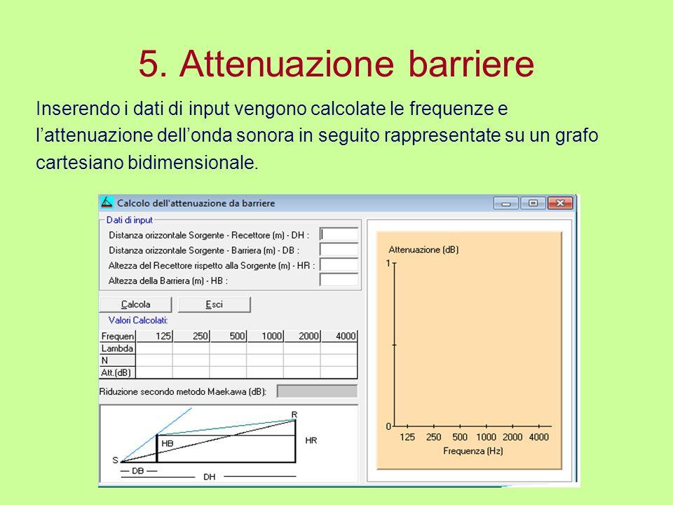 5. Attenuazione barriere Inserendo i dati di input vengono calcolate le frequenze e lattenuazione dellonda sonora in seguito rappresentate su un grafo
