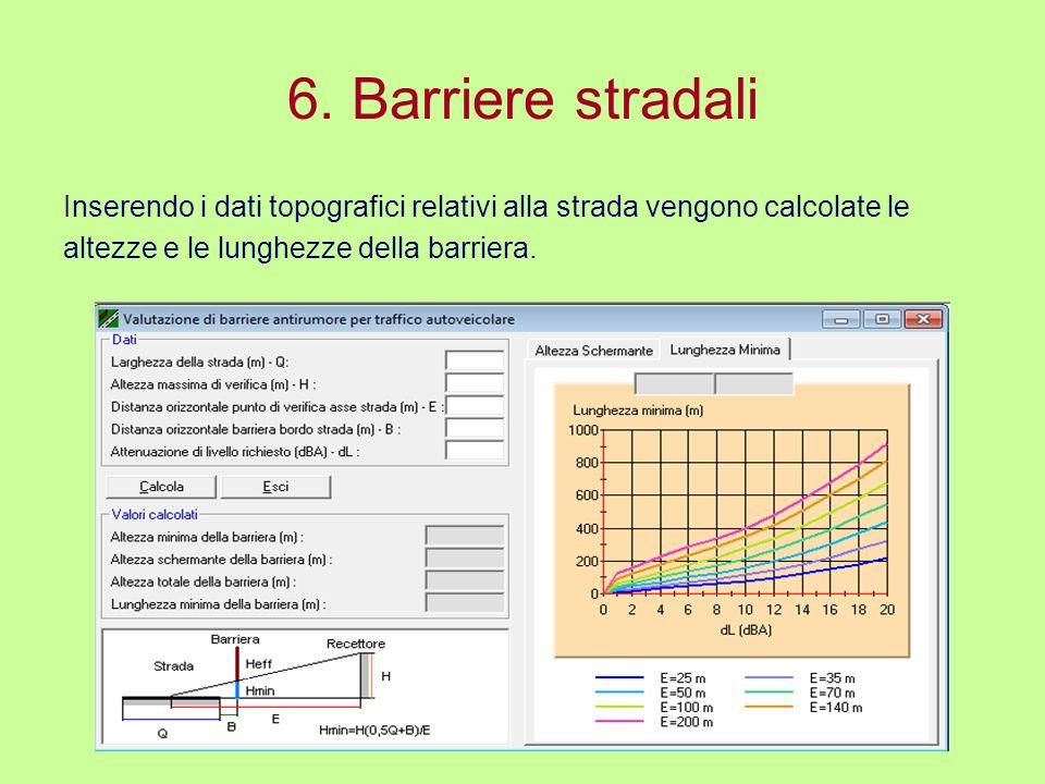 6. Barriere stradali Inserendo i dati topografici relativi alla strada vengono calcolate le altezze e le lunghezze della barriera.