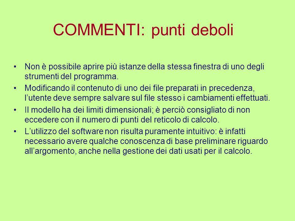 COMMENTI: punti deboli Non è possibile aprire più istanze della stessa finestra di uno degli strumenti del programma. Modificando il contenuto di uno