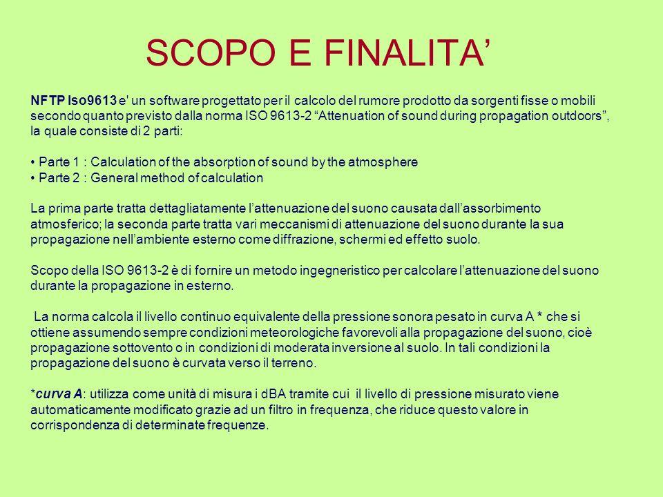 SCOPO E FINALITA NFTP Iso9613 e' un software progettato per il calcolo del rumore prodotto da sorgenti fisse o mobili secondo quanto previsto dalla no