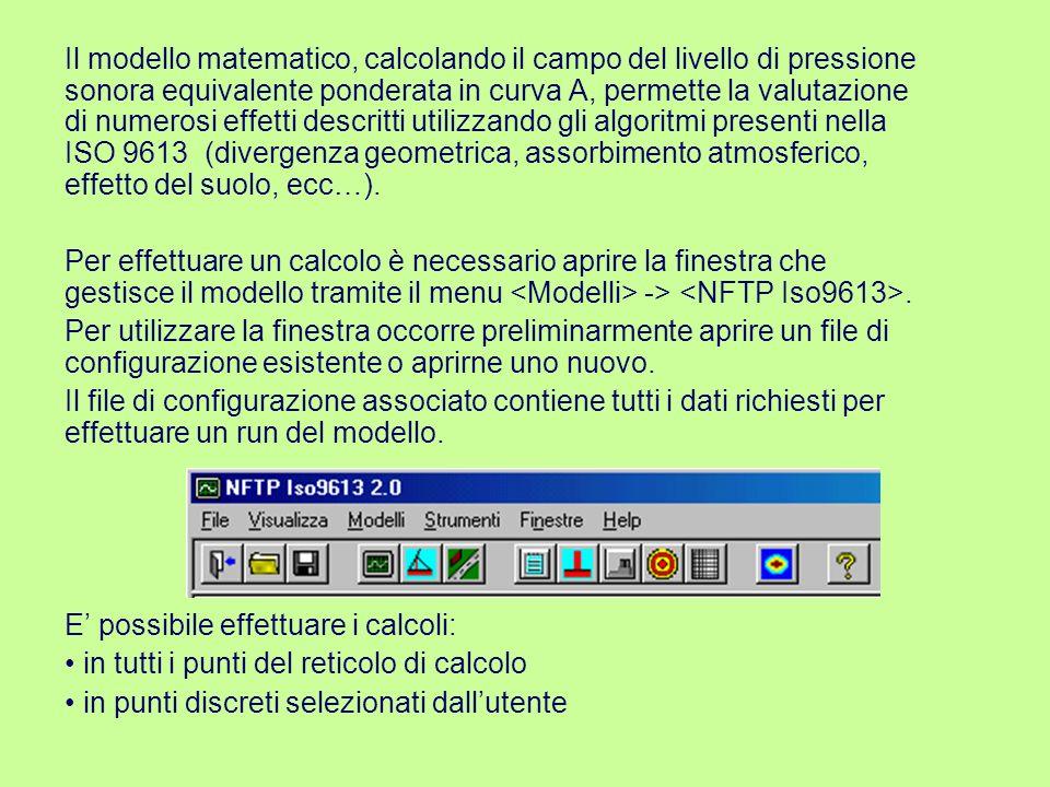 La finestra Impianti Fissi iso9613 contiene sette schede per l immissione delle informazioni necessarie al run del modello.