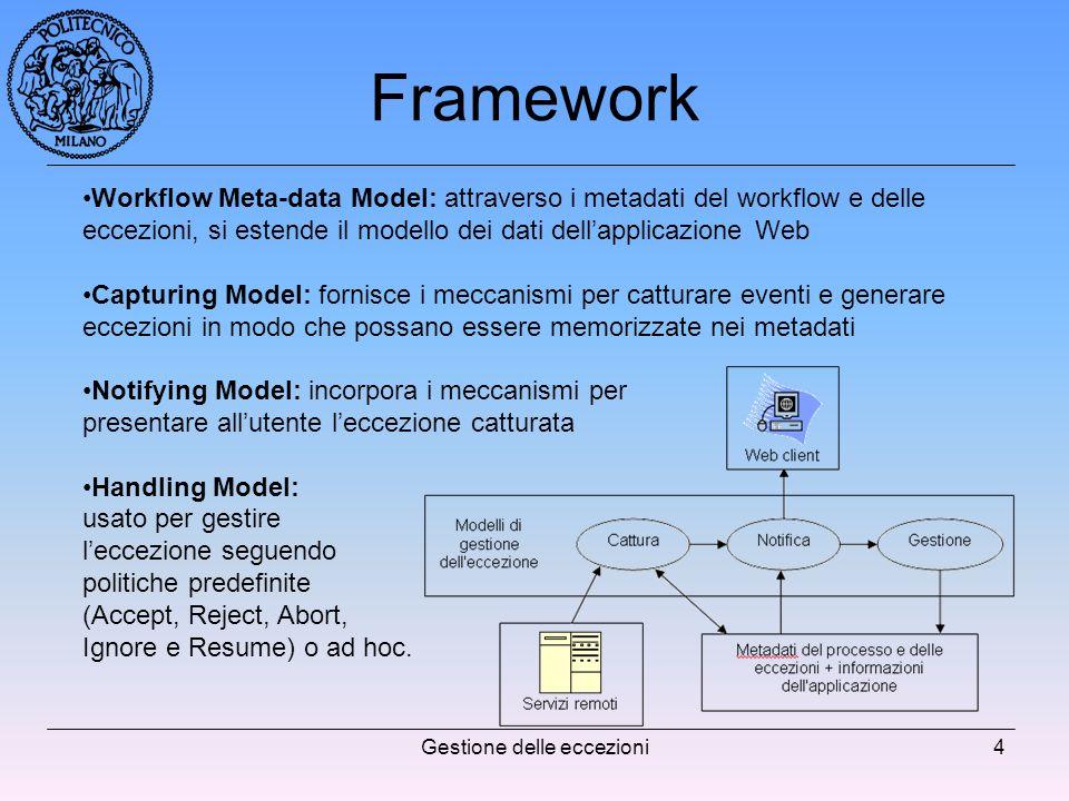 Gestione delle eccezioni4 Framework Workflow Meta-data Model: attraverso i metadati del workflow e delle eccezioni, si estende il modello dei dati dellapplicazione Web Capturing Model: fornisce i meccanismi per catturare eventi e generare eccezioni in modo che possano essere memorizzate nei metadati Notifying Model: incorpora i meccanismi per presentare allutente leccezione catturata Handling Model: usato per gestire leccezione seguendo politiche predefinite (Accept, Reject, Abort, Ignore e Resume) o ad hoc.