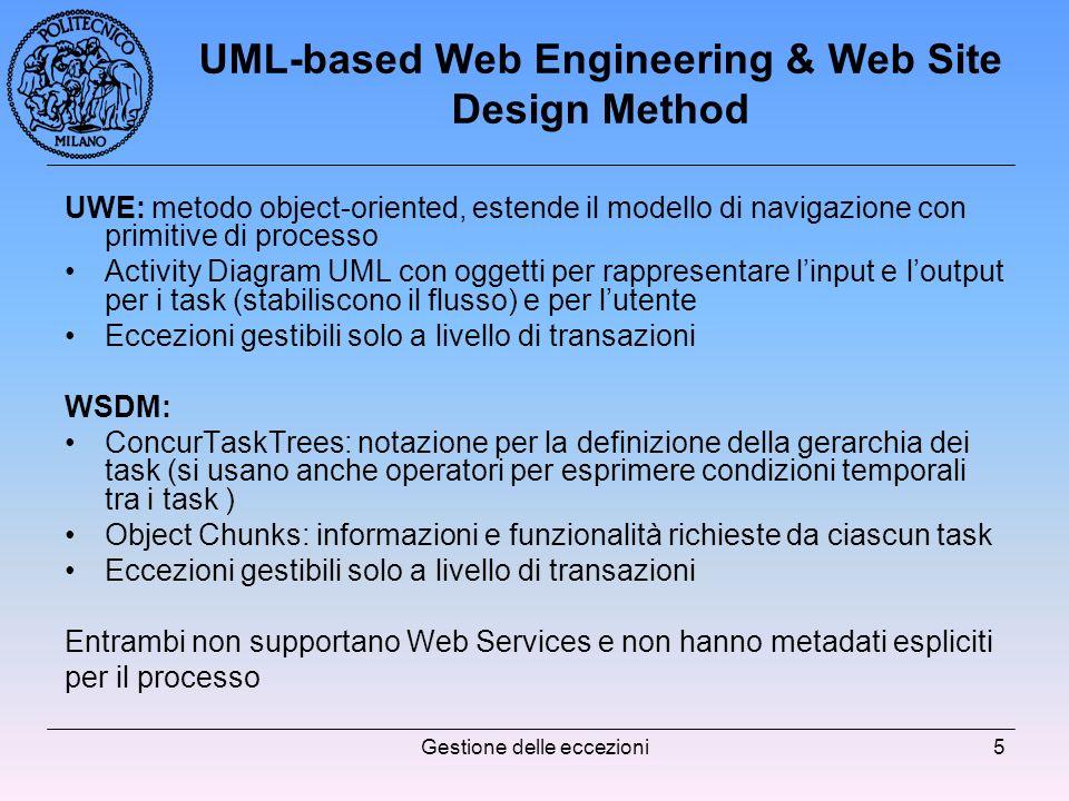 Gestione delle eccezioni5 UML-based Web Engineering & Web Site Design Method UWE: metodo object-oriented, estende il modello di navigazione con primitive di processo Activity Diagram UML con oggetti per rappresentare linput e loutput per i task (stabiliscono il flusso) e per lutente Eccezioni gestibili solo a livello di transazioni WSDM: ConcurTaskTrees: notazione per la definizione della gerarchia dei task (si usano anche operatori per esprimere condizioni temporali tra i task ) Object Chunks: informazioni e funzionalità richieste da ciascun task Eccezioni gestibili solo a livello di transazioni Entrambi non supportano Web Services e non hanno metadati espliciti per il processo