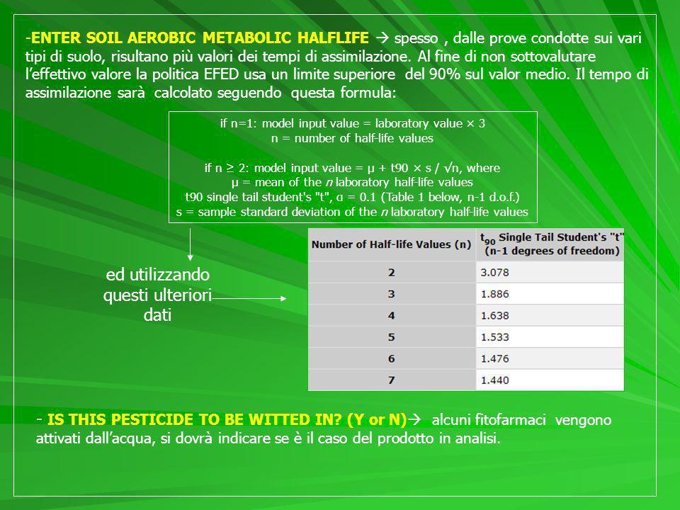 -ENTER SOIL AEROBIC METABOLIC HALFLIFE spesso, dalle prove condotte sui vari tipi di suolo, risultano più valori dei tempi di assimilazione.