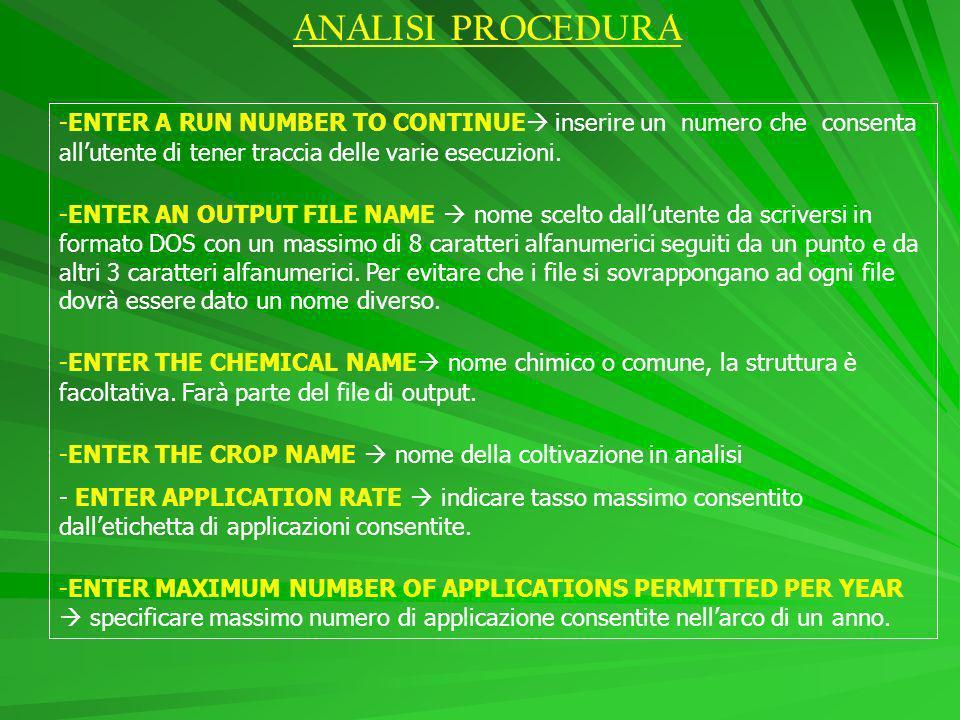 ANALISI PROCEDURA -ENTER A RUN NUMBER TO CONTINUE inserire un numero che consenta allutente di tener traccia delle varie esecuzioni.
