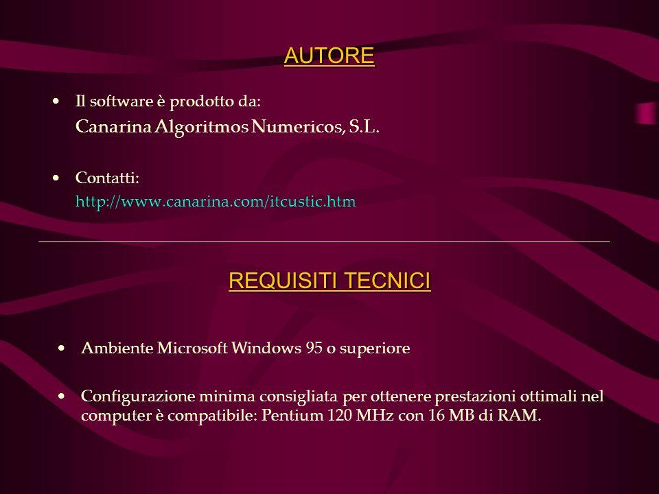 AUTORE Il software è prodotto da: Canarina Algoritmos Numericos, S.L.
