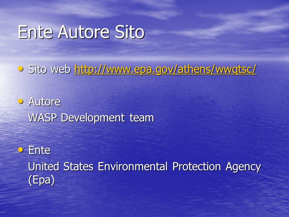 Ente Autore Sito Sito web http://www.epa.gov/athens/wwqtsc/ Sito web http://www.epa.gov/athens/wwqtsc/http://www.epa.gov/athens/wwqtsc/ Autore Autore