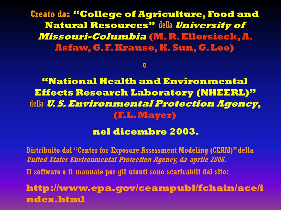 Creato da : College of Agriculture, Food and Natural Resources della University of Missouri-Columbia (M.