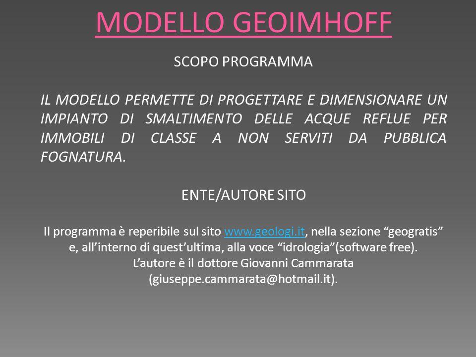 MODELLO GEOIMHOFF SCOPO PROGRAMMA IL MODELLO PERMETTE DI PROGETTARE E DIMENSIONARE UN IMPIANTO DI SMALTIMENTO DELLE ACQUE REFLUE PER IMMOBILI DI CLASSE A NON SERVITI DA PUBBLICA FOGNATURA.
