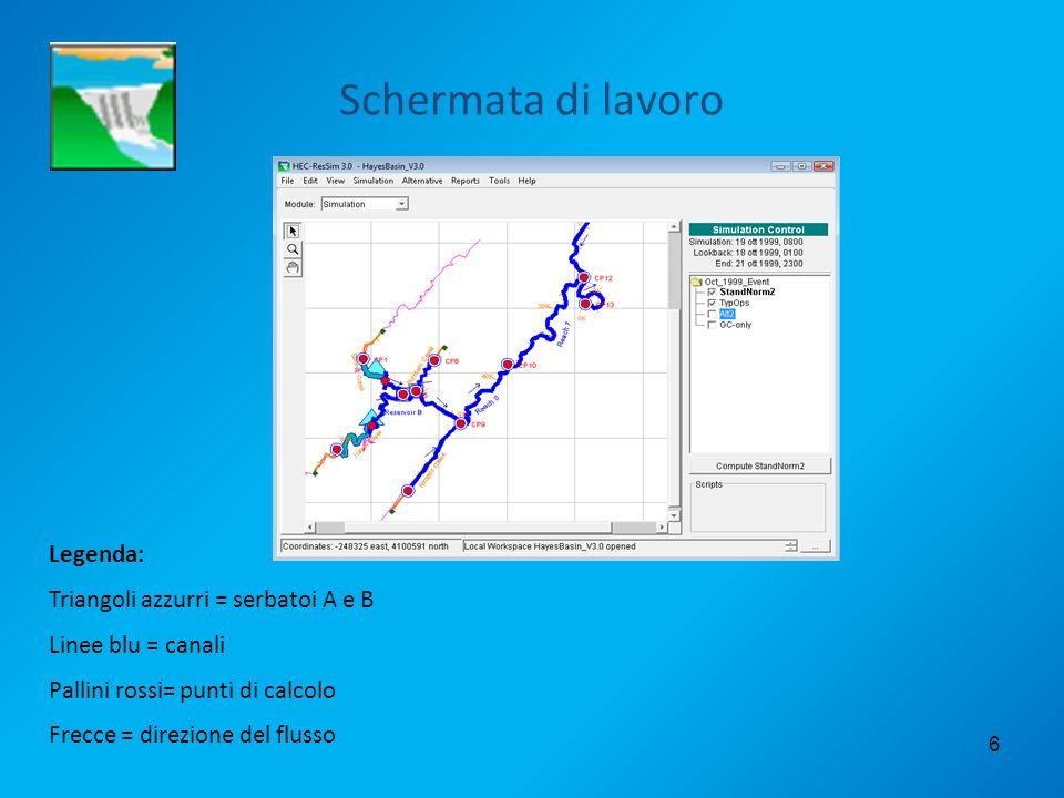 6 Schermata di lavoro Legenda: Triangoli azzurri = serbatoi A e B Linee blu = canali Pallini rossi= punti di calcolo Frecce = direzione del flusso