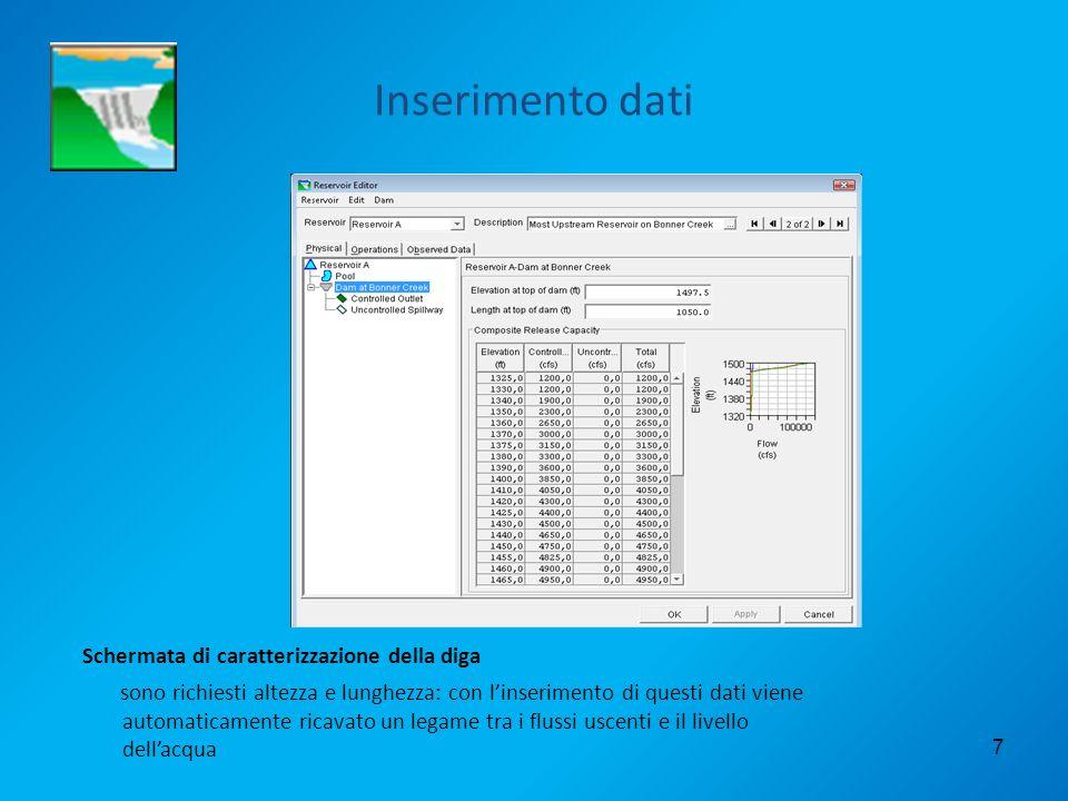 7 Inserimento dati Schermata di caratterizzazione della diga sono richiesti altezza e lunghezza: con linserimento di questi dati viene automaticamente