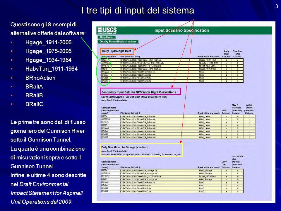 3 I tre tipi di input del sistema Questi sono gli 8 esempi di alternative offerte dal software: Hgage_1911-2005 Hgage_1975-2005 Hgage_1934-1964 HabvTu