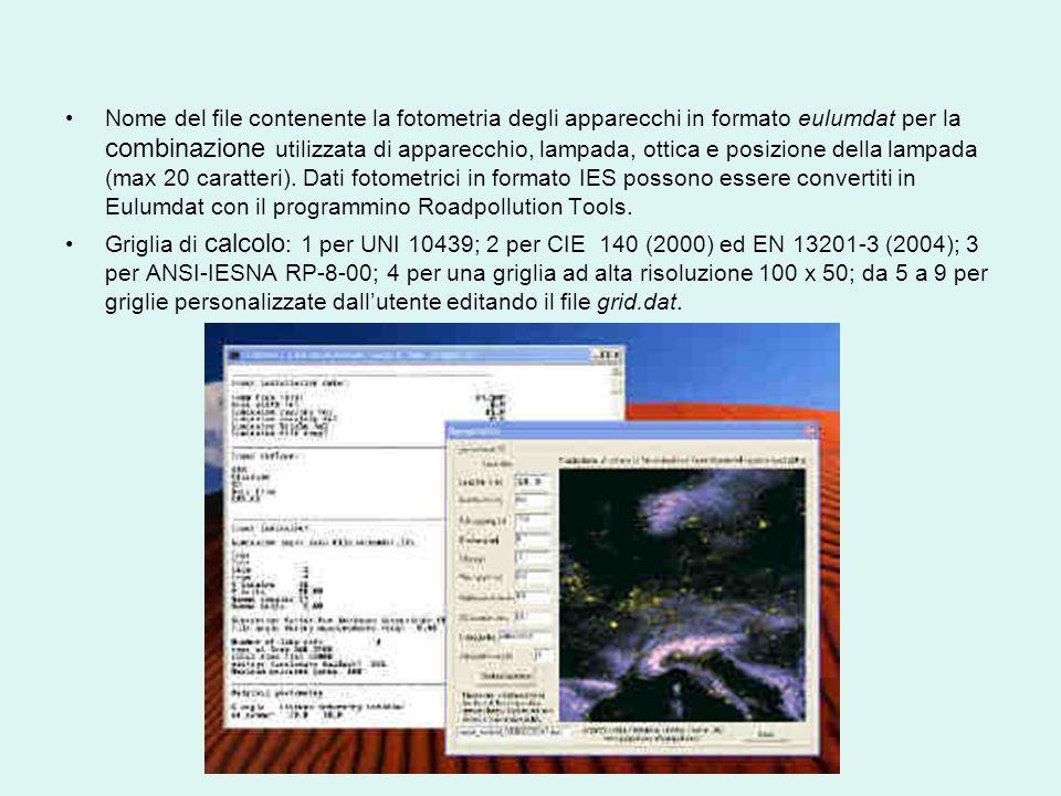 Nome del file contenente la fotometria degli apparecchi in formato eulumdat per la combinazione utilizzata di apparecchio, lampada, ottica e posizione