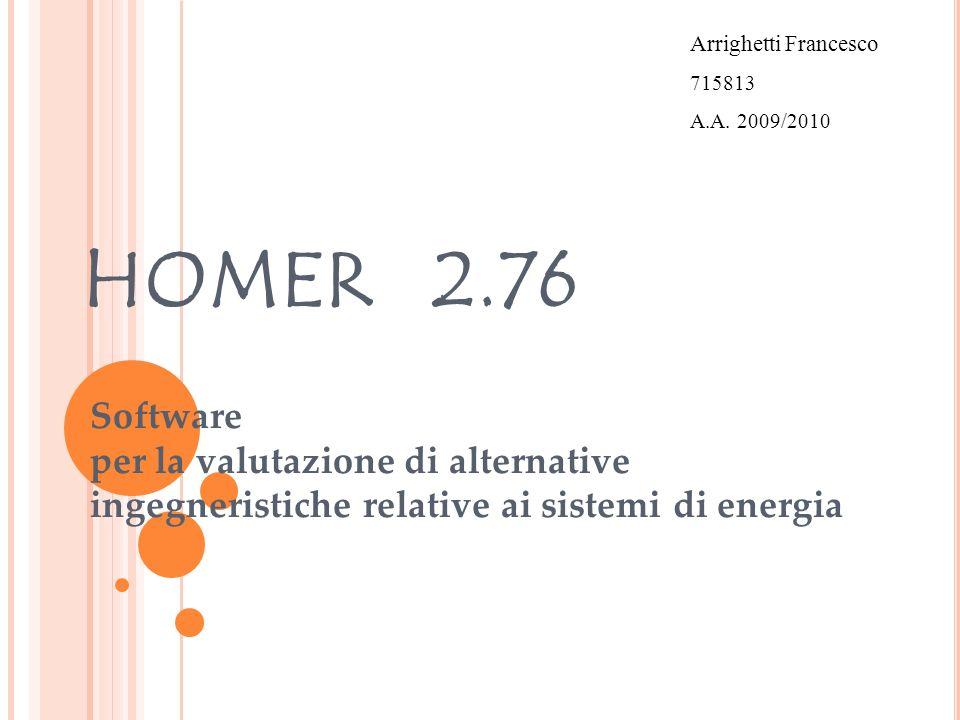 DESCRIZIONE GENERALE – HOMER 2.76 - Programma per la valutazione di configurazioni impiantistiche con generazione elettrica e termica distribuita a scala di distretto, sia connesse alla rete elettrica che autonome.