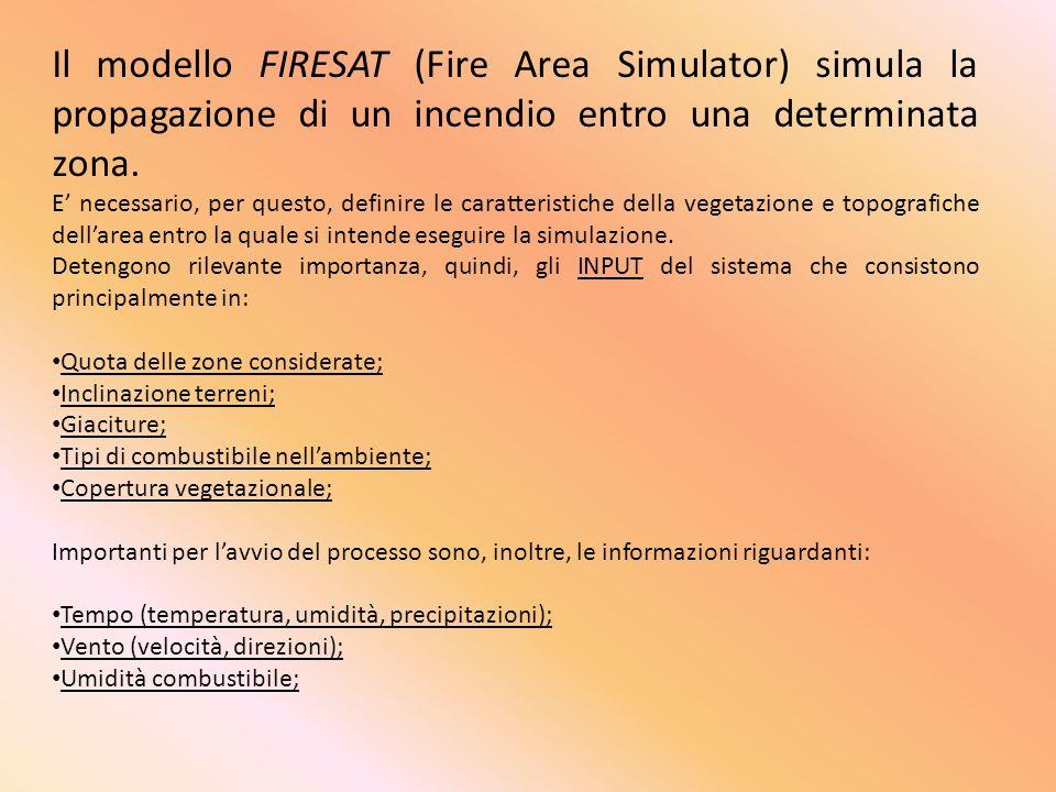 Il modello FIRESAT (Fire Area Simulator) simula la propagazione di un incendio entro una determinata zona. E necessario, per questo, definire le carat