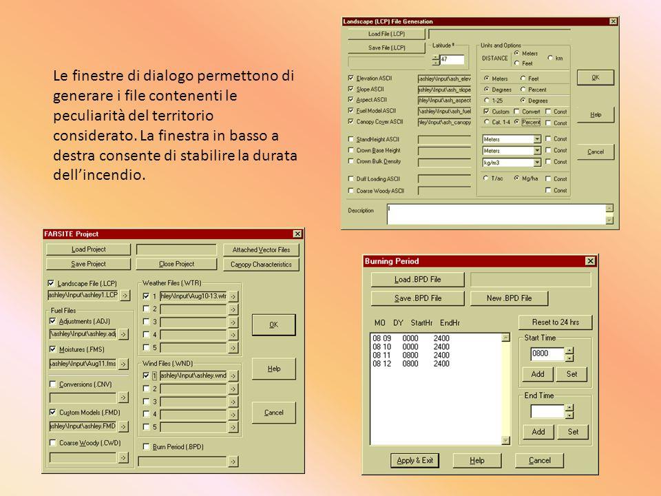 Le finestre di dialogo permettono di generare i file contenenti le peculiarità del territorio considerato. La finestra in basso a destra consente di s