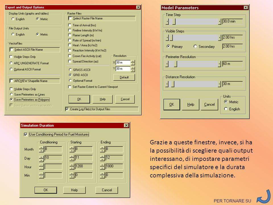 Grazie a queste finestre, invece, si ha la possibilità di scegliere quali output interessano, di impostare parametri specifici del simulatore e la dur