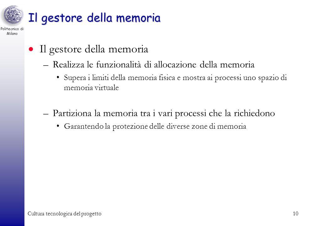 Politecnico di Milano Cultura tecnologica del progetto9 Il nucleo Memoria centrale Interfaccia delle periferiche Bus di sistema Processore virtuale Pr