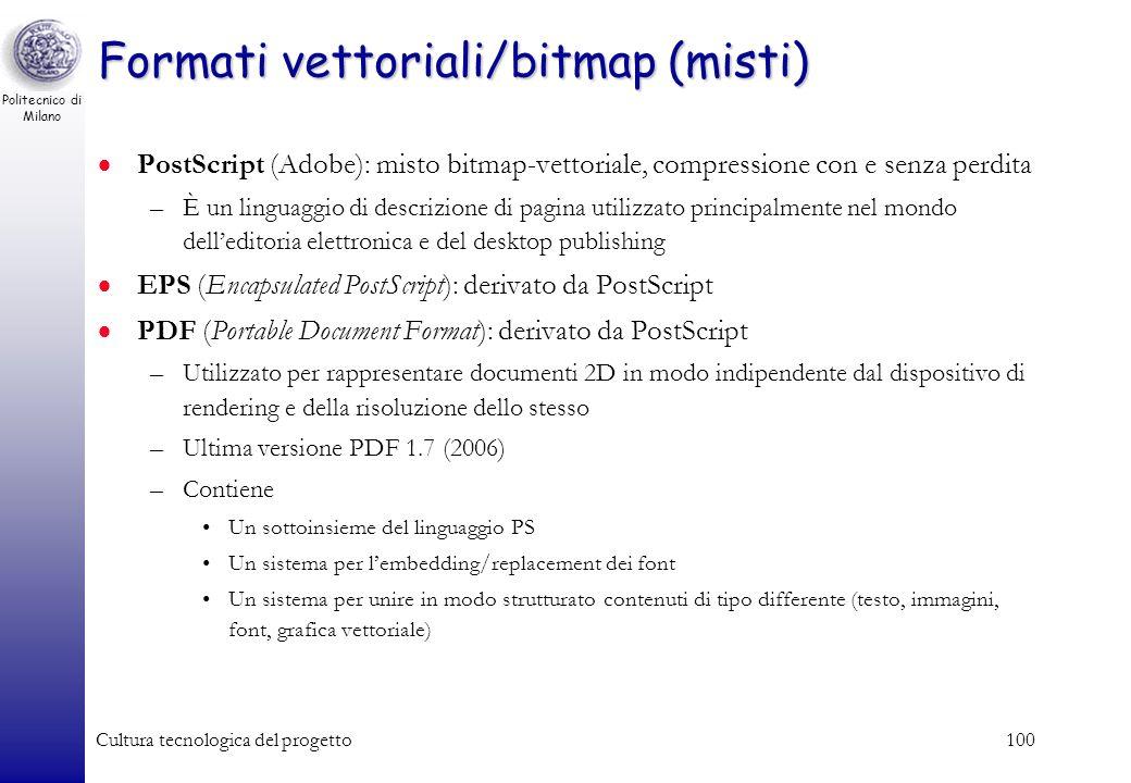 Politecnico di Milano Cultura tecnologica del progetto99 Immagini vettoriali Codifica simbolica di elementi grafici –es.: Applicabilità limitata al mo
