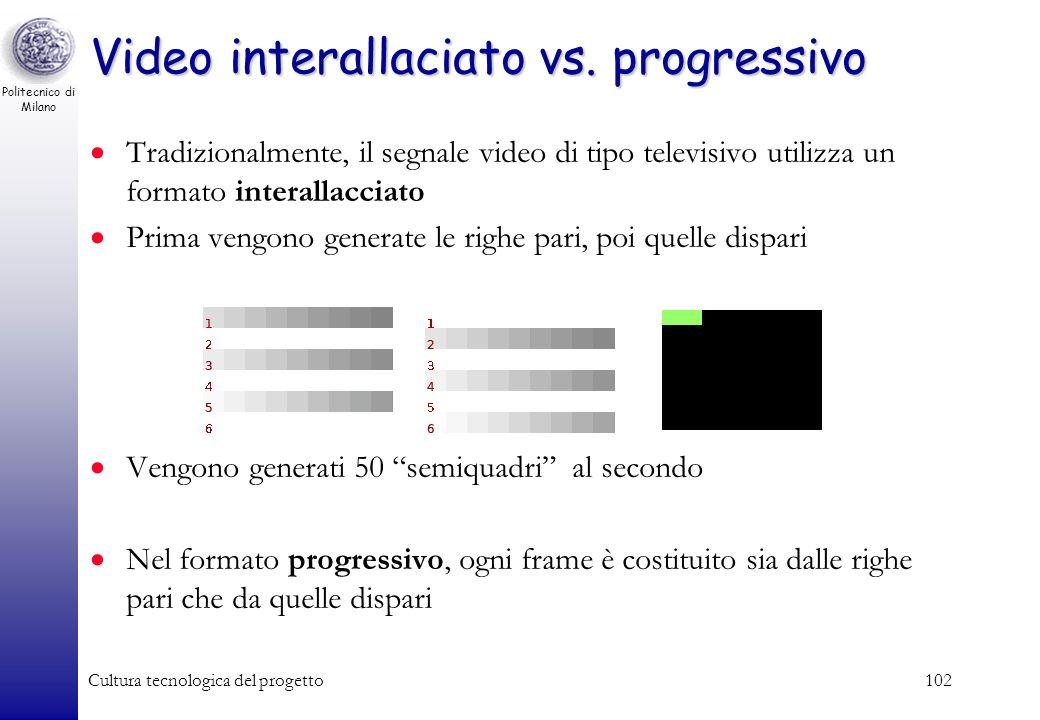 Politecnico di Milano Cultura tecnologica del progetto101 Immagini in movimento: I Video Video: successione di immagini fisse (o frame) trasmesse con