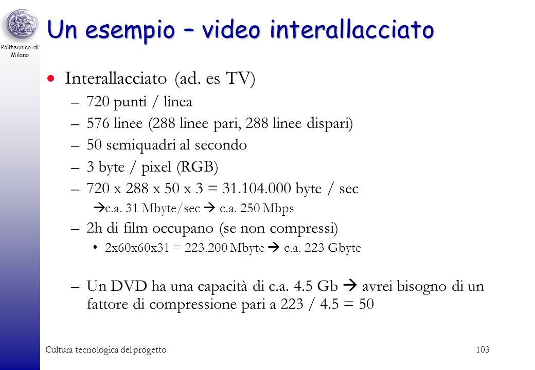 Politecnico di Milano Cultura tecnologica del progetto102 Video interallaciato vs. progressivo Tradizionalmente, il segnale video di tipo televisivo u