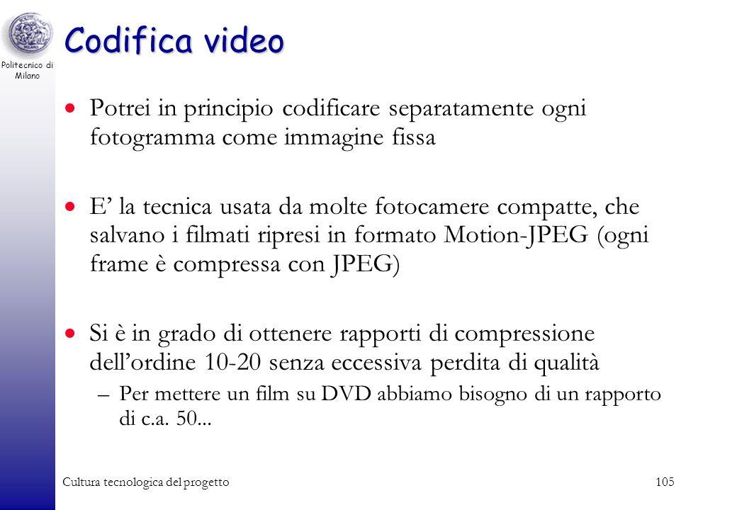 Politecnico di Milano Cultura tecnologica del progetto104 Un esempio - video progressivo Progressivo (ad. es cellulare) –320x240 pixel –15 frame / sec