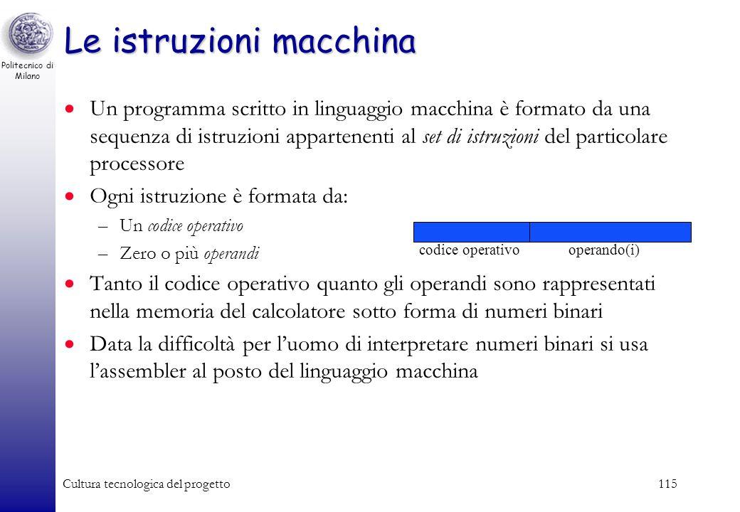 Politecnico di Milano Cultura tecnologica del progetto114 Il linguaggio del calcolatore Il calcolatore esegue programmi scritti in un opportuno lingua