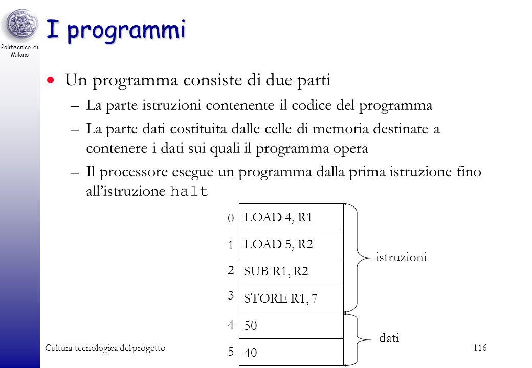 Politecnico di Milano Cultura tecnologica del progetto115 Le istruzioni macchina Un programma scritto in linguaggio macchina è formato da una sequenza