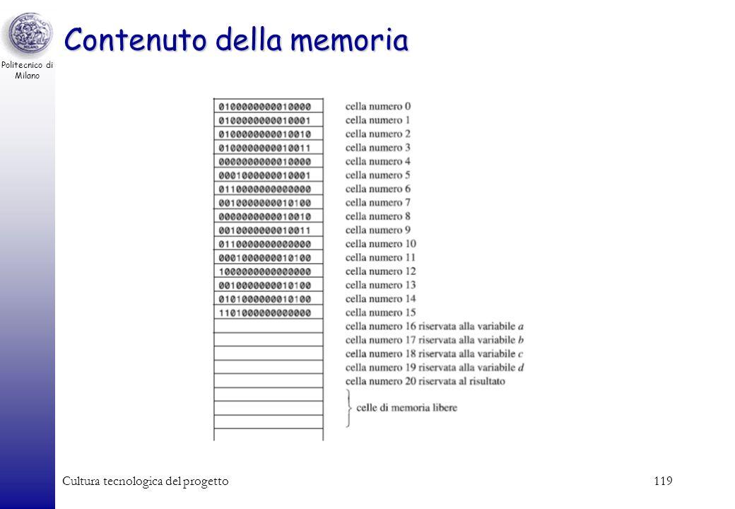 Politecnico di Milano Cultura tecnologica del progetto118 Un esempio di programma Esempio: calcolare espressione (a + b) * (c + d) –Poni in memoria ce