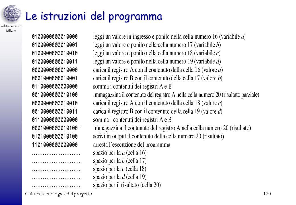Politecnico di Milano Cultura tecnologica del progetto119 Contenuto della memoria