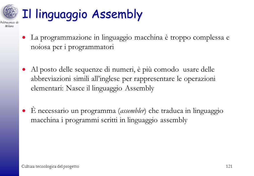 Politecnico di Milano Cultura tecnologica del progetto120 Le istruzioni del programma