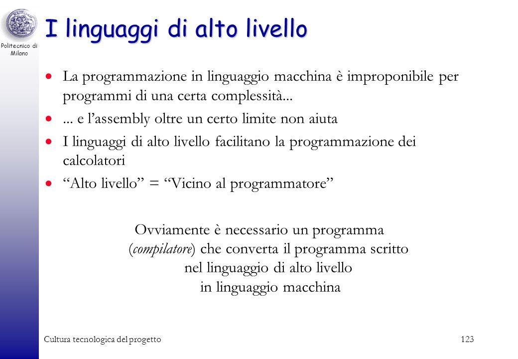 Politecnico di Milano Cultura tecnologica del progetto122 Lesempio in linguaggio assembly READ A READ B READ C READ D LOADA A LOADB B ADD STOREA RIS L