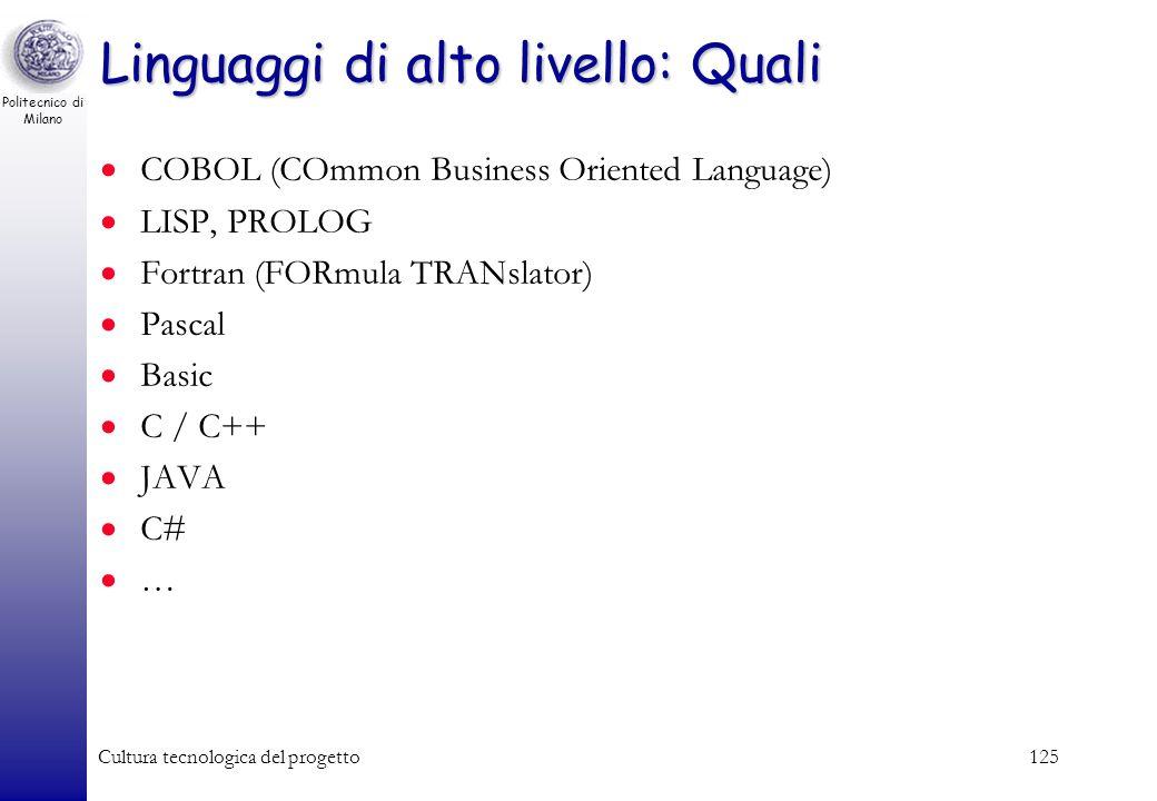 Politecnico di Milano Cultura tecnologica del progetto124 Lesempio (frammento) in C int a, b, c, d, ris; scanf(