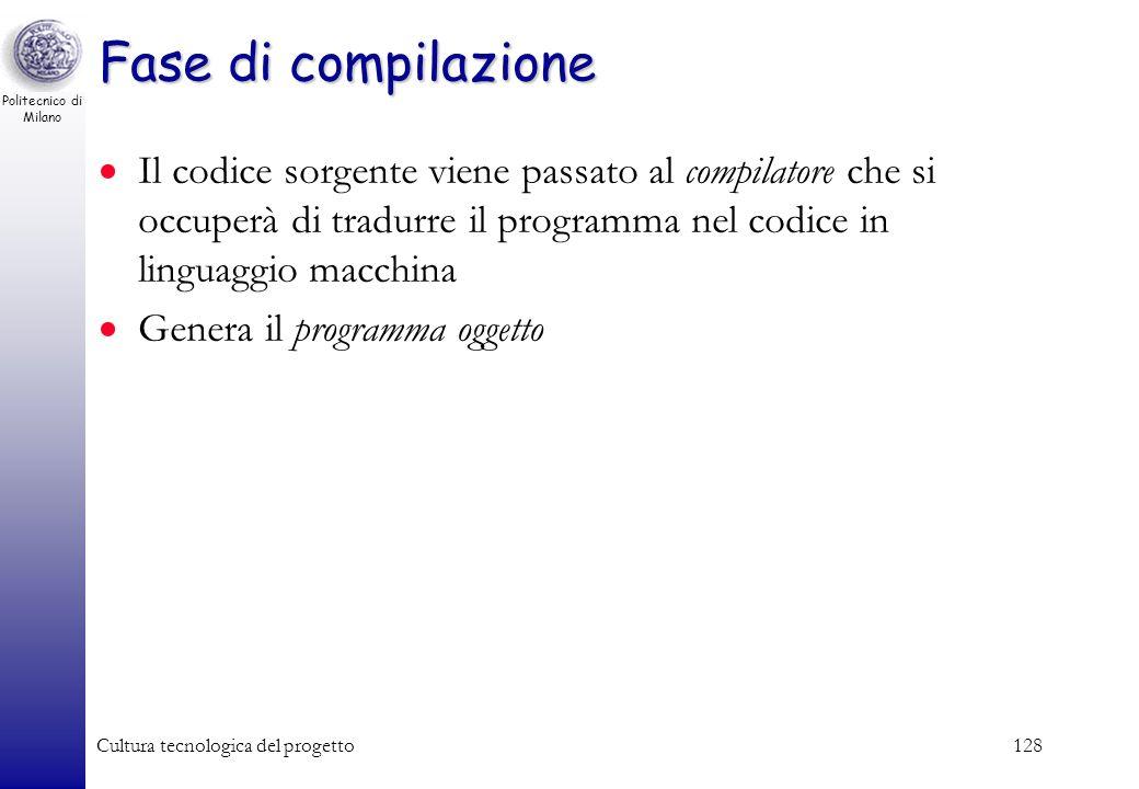 Politecnico di Milano Cultura tecnologica del progetto127 Fase di editazione Consiste nella scrittura del codice (testo del programma) in un file Si e