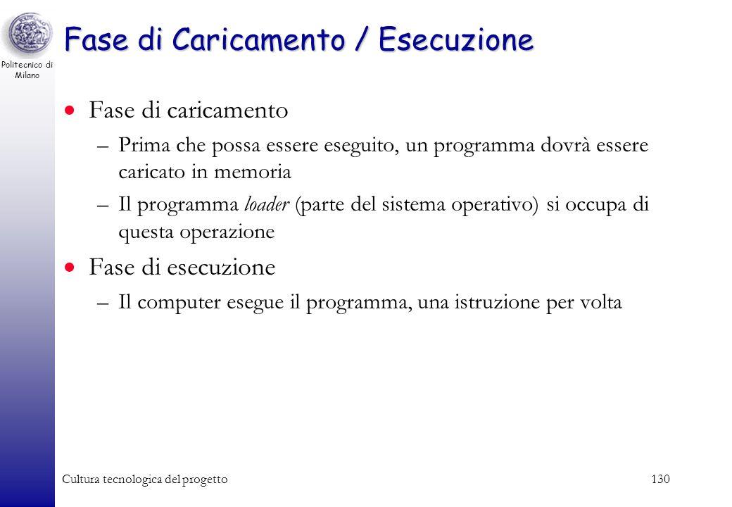 Politecnico di Milano Cultura tecnologica del progetto129 Fase di linking (collegamento) I programmi scritti in linguaggio ad alto livello, contengono