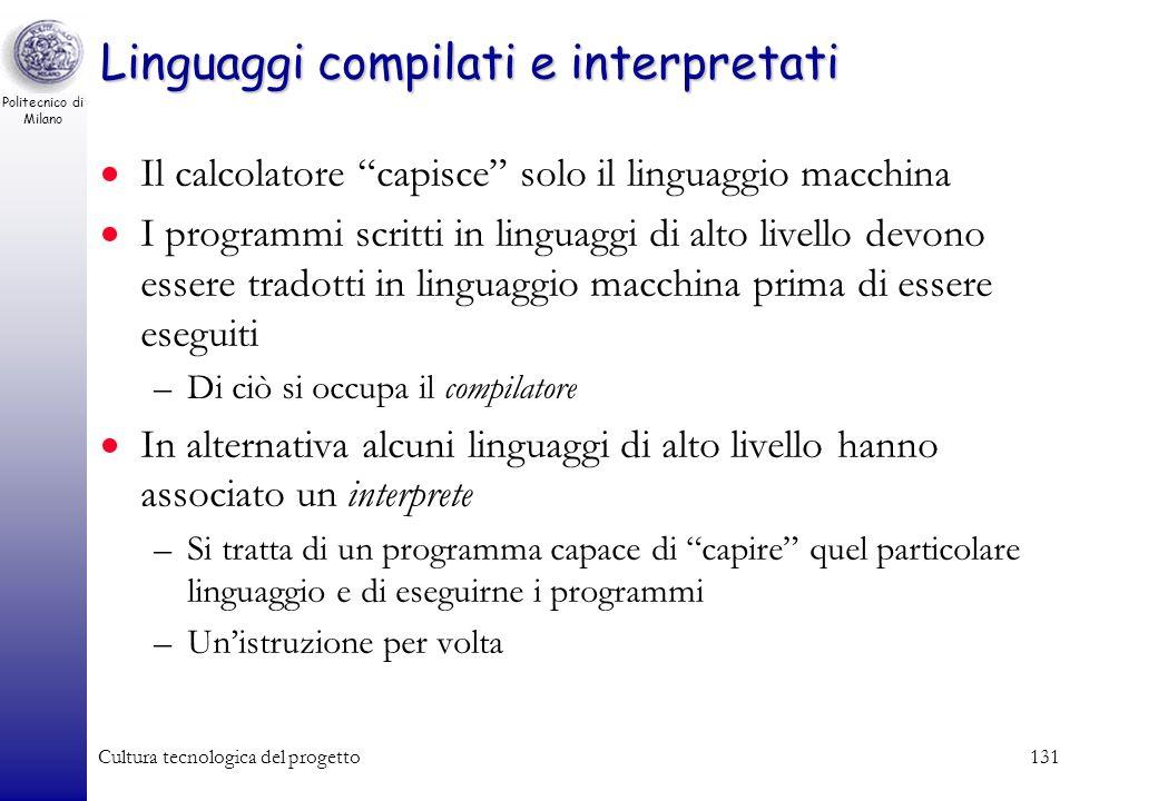 Politecnico di Milano Cultura tecnologica del progetto130 Fase di Caricamento / Esecuzione Fase di caricamento –Prima che possa essere eseguito, un pr
