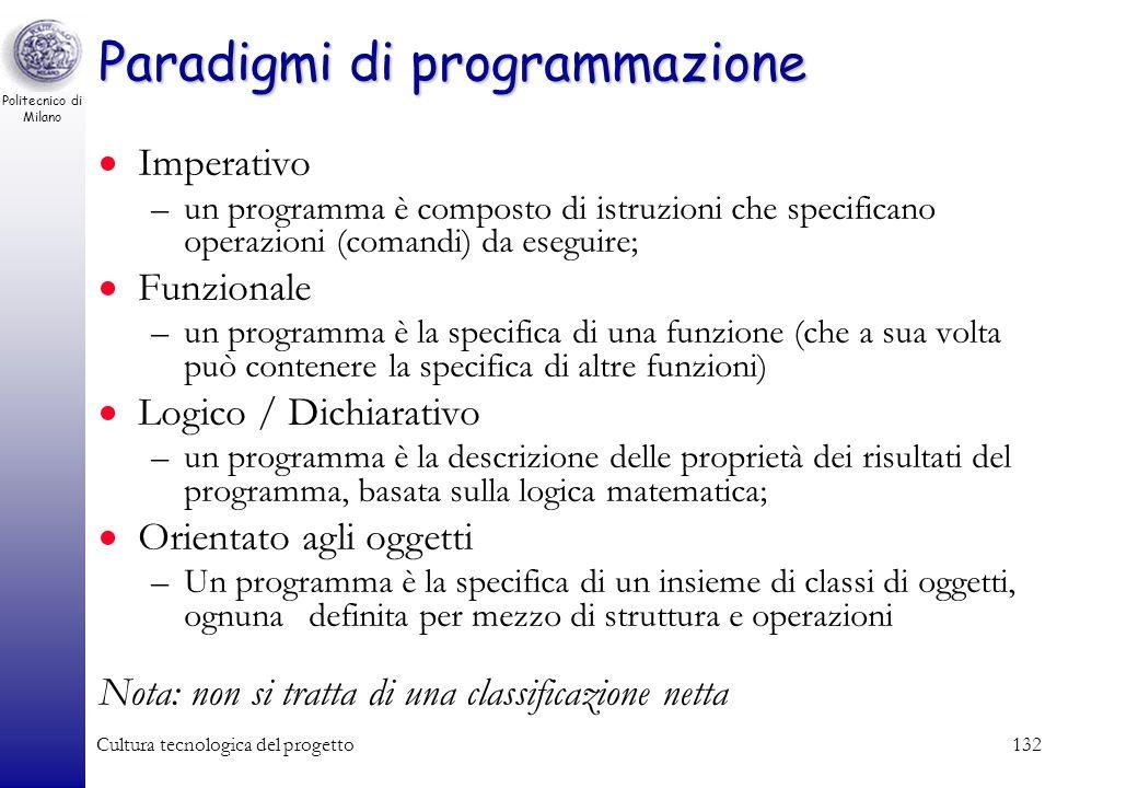 Politecnico di Milano Cultura tecnologica del progetto131 Linguaggi compilati e interpretati Il calcolatore capisce solo il linguaggio macchina I prog