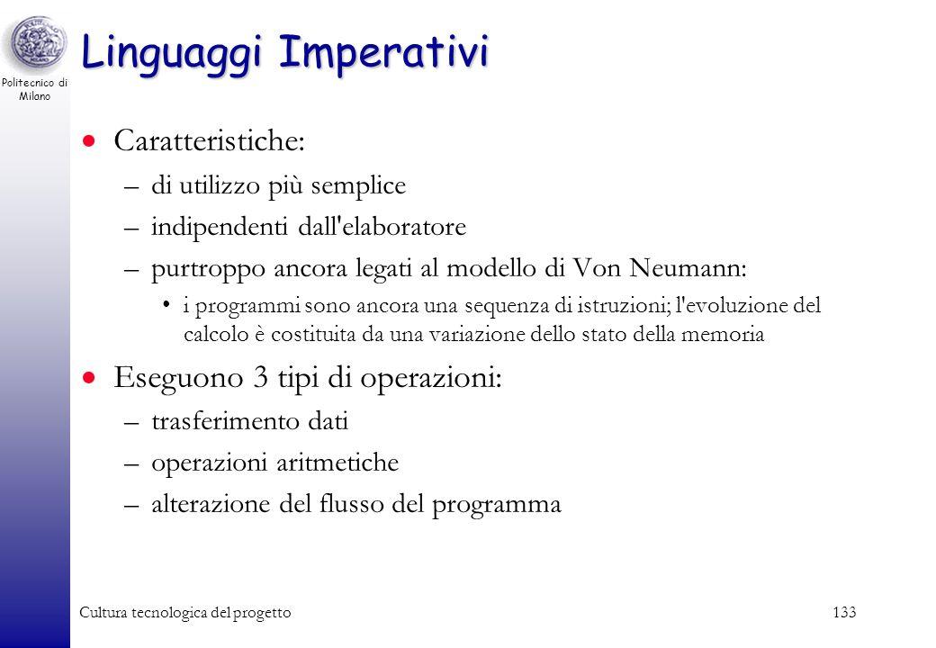 Politecnico di Milano Cultura tecnologica del progetto132 Paradigmi di programmazione Imperativo –un programma è composto di istruzioni che specifican