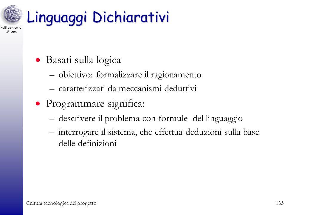 Politecnico di Milano Cultura tecnologica del progetto134 Linguaggi Funzionali Non sono legati al modello di Von Neumann ma al concetto di programmazi