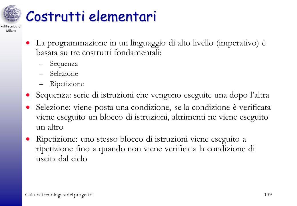 Politecnico di Milano Cultura tecnologica del progetto138 I fondamenti della programmazione ad oggetti (object-oriented) Diamo qualche definizione cla