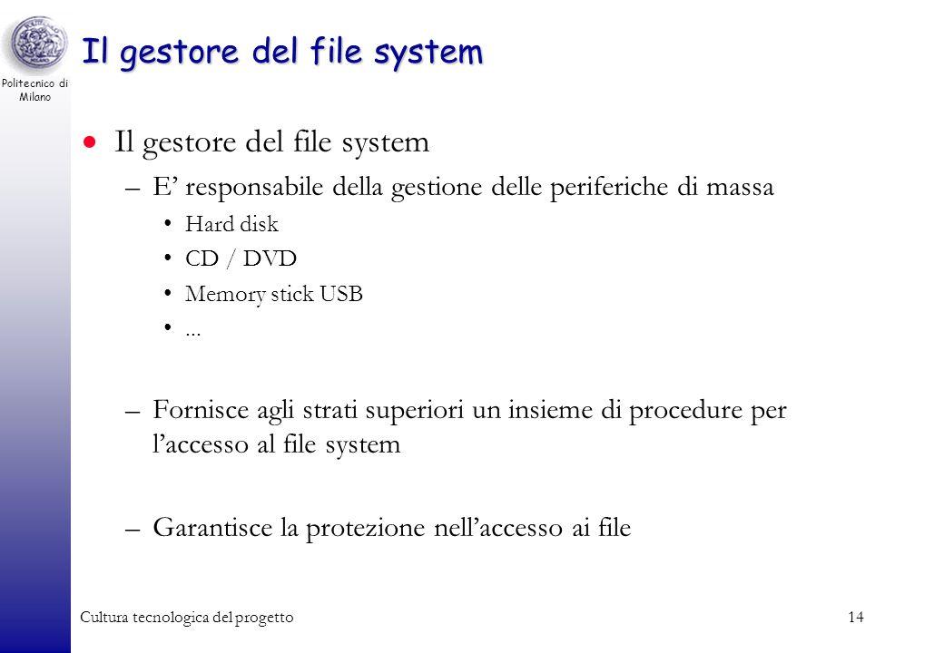 Politecnico di Milano Cultura tecnologica del progetto13 Il gestore delle periferiche La macchina virtuale realizzata dal gestore delle periferiche In