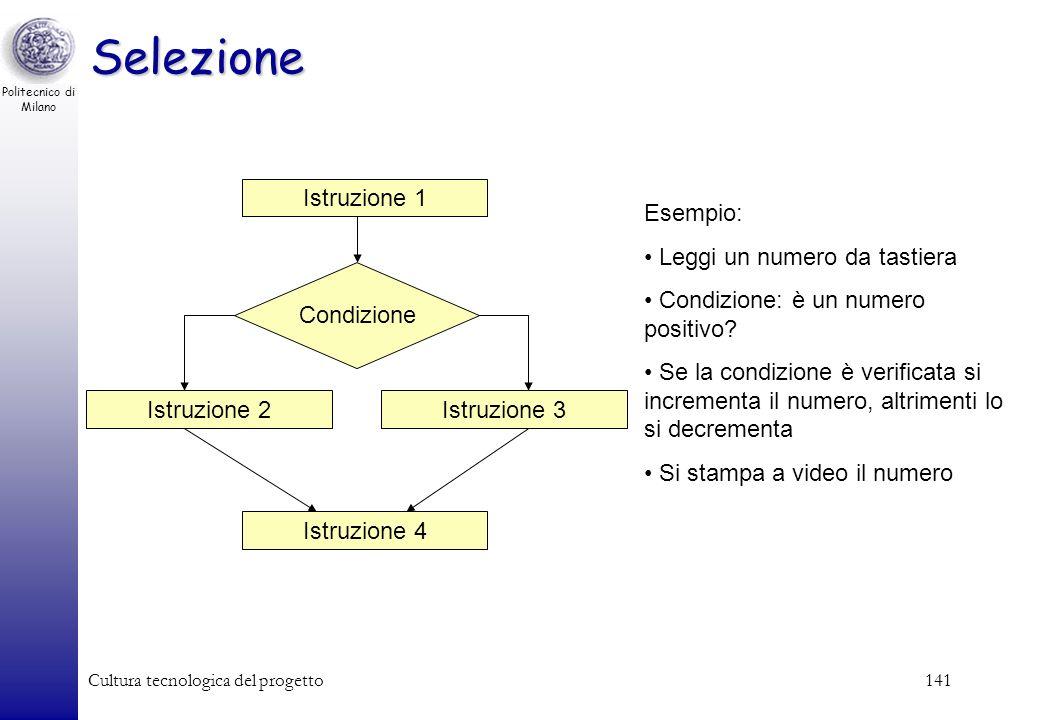 Politecnico di Milano Cultura tecnologica del progetto140 Istruzione 1 Istruzione 2 Istruzione N Esempio: Leggi un numero da tastiera Moltiplicalo per