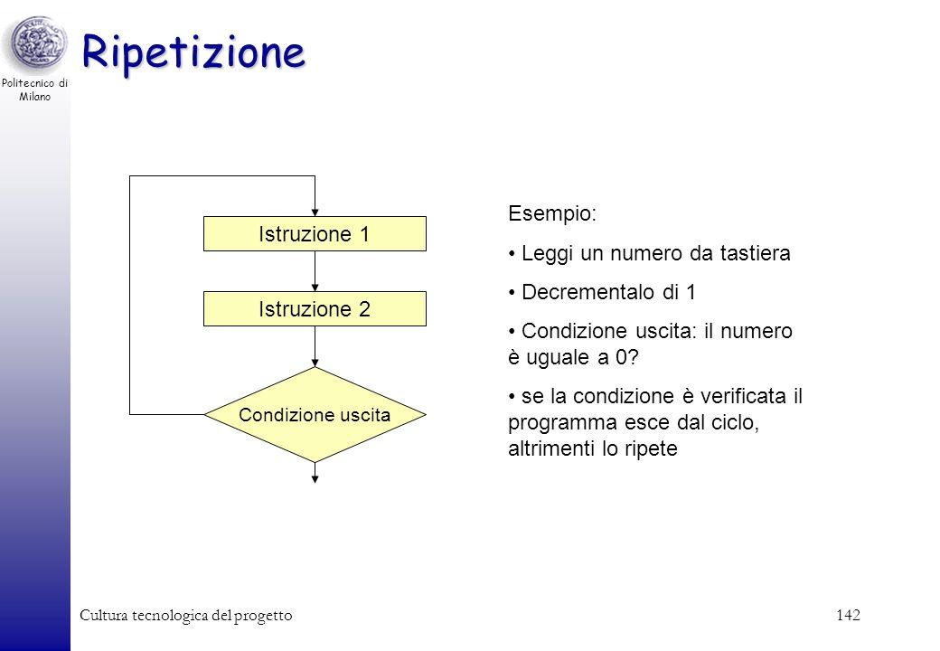 Politecnico di Milano Cultura tecnologica del progetto141 Istruzione 1 Istruzione 2 Esempio: Leggi un numero da tastiera Condizione: è un numero posit
