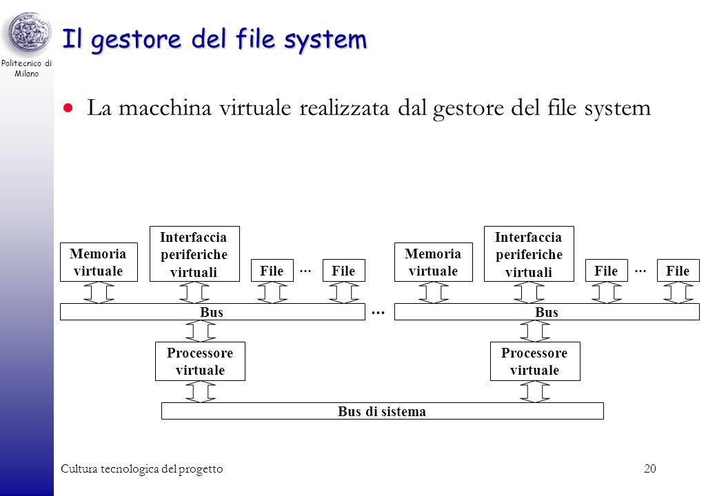 Politecnico di Milano Cultura tecnologica del progetto19 Il gestore del file system D: Documenti Downloads Incoming Temp...