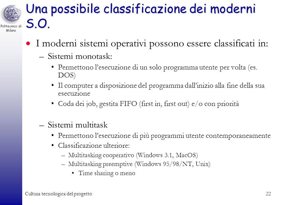 Politecnico di Milano Cultura tecnologica del progetto21 Linterprete dei comandi e linterfaccia grafica Linterprete comandi e linterfaccia grafica –Co