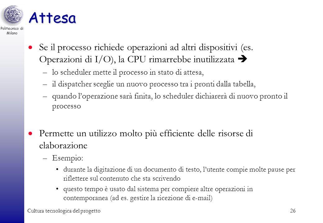 Politecnico di Milano Cultura tecnologica del progetto25 Stati di un processo Processo in esecuzione Processo in attesa Processi pronti Inizio esecuzi