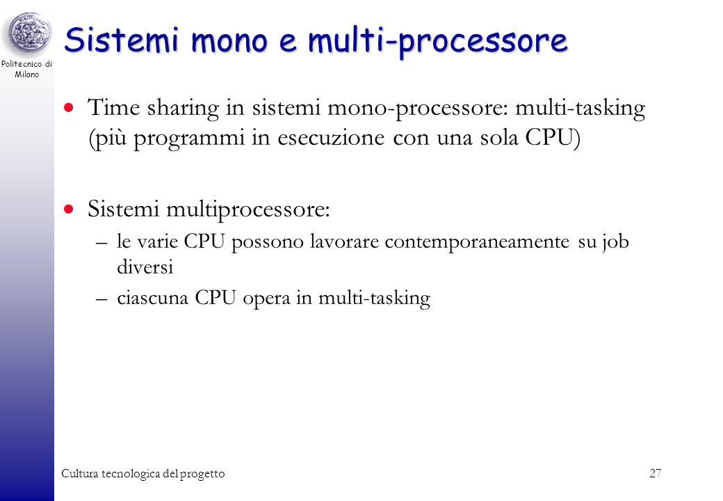 Politecnico di Milano Cultura tecnologica del progetto26 Attesa Se il processo richiede operazioni ad altri dispositivi (es. Operazioni di I/O), la CP