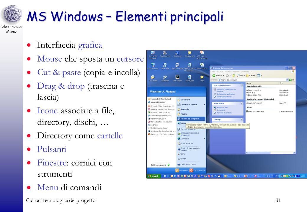 Politecnico di Milano Cultura tecnologica del progetto30 MS-DOS Sviluppato dalla Microsoft nel 1981 per il PC IBM Adottato da altri con PC IBM-compati